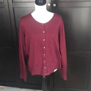 Lands End Maroon Cotton Cardigan NWOT